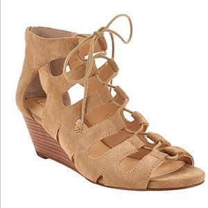 Sole Society Suede Lace-up Wedge Sandals - Freyaa
